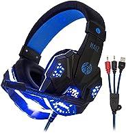 Headphone Gamer HAIZ Deneb Led Fio Corda Super Microfone Full (AZUL)