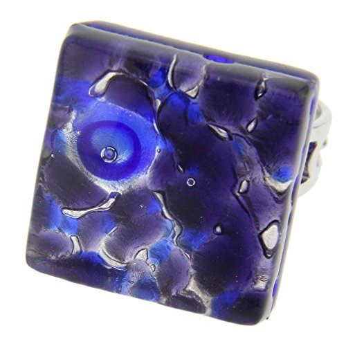 Murano Venetian Ring (GlassOfVenice Murano Glass Venetian Reflections Square Adjustable Ring - Periwinkle)