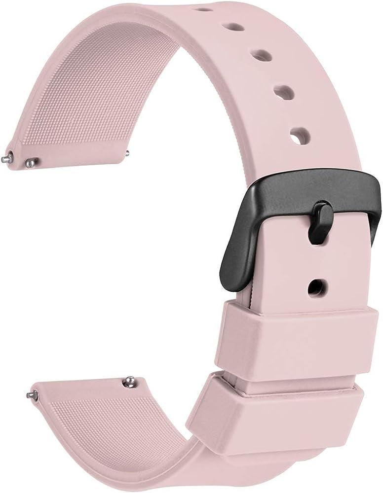 WOCCI 20mm Silicona Correa Reloj Hombre Mujer con Hebilla de Negro ...