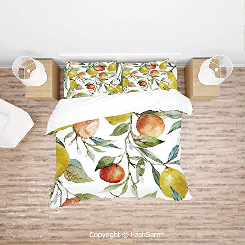 (FashSam Duvet Cover 4 Pcs Comforter Cover Set Lemon and Orange Clementine Tree Branches Fruit Yummy Winter Season Vitamin Design for Boys Grils Kids(King))