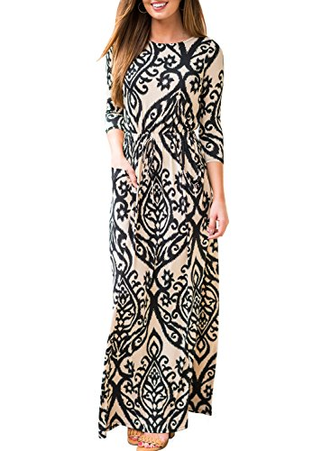 ZESICA Women's 3/4 Sleeve Floral Printed Tie Waist Long Maxi Dress With Pockets,Brown,Large (Empire Dress Tie Printed)