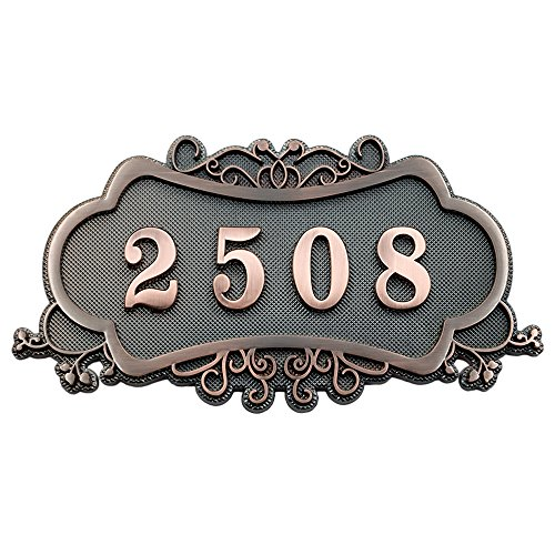 Aspire Customized Home Address Sign, House Hotel Office Number Sign, Personalized Address Plaque Sign, Small Size, Approx 4.5 x 7.5 inches, 3 or 4 Numbers Only ()