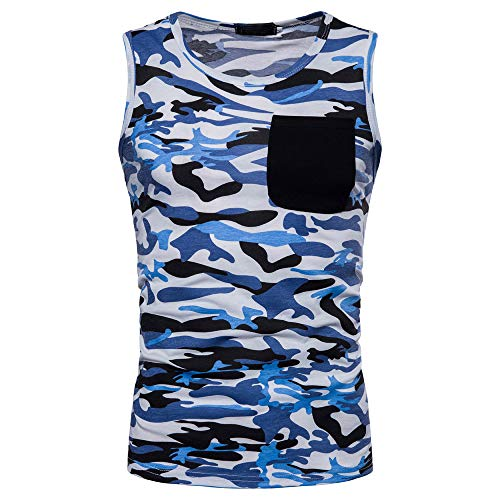 Men's Casual Vest Camouflage Print O Neck Sleeveless T-Shirt Top Vest -