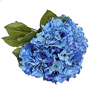 LingStar (1 Bunch of 5 flowers ) Artificial Silk Hydrangea Bouquet Fake Flowers Arrangement Home Wedding decor (Dark Blue) 114
