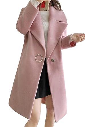 2132c7e2a Oberora-Women Winter Lapel One Button Trench Jacket Pea Coat ...