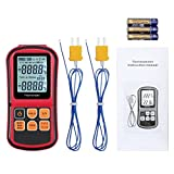 LiNKFOR Digital Thermometer Thermocouple Support Two K- Type Thermocouples K/J/T/E/R/S/N Type Dual-Channel LCD Backlight Temperature Meter Tester (Batteries Included)
