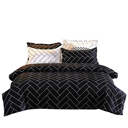 Geometric Duvet Cover Set, Bedding Sets Soft Luxury Microfiber Comforter Cover, Reversible Stripe Pattern Kids Teens Quilt Cover with Zipper Closure (Black, 3pcs, Queen Size) (White Bedding Black And Sets Double)