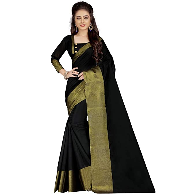 20e3a4b167438 Mukta Fashion Wear Women s Cotton Silk Plain Saree with Blouse PIece (Black
