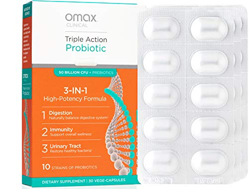 Omax Synbiotic Probiotic Prebiotic Inulin Chicory Root Fiber Supplement Pills, 50 Billion CFU, 10 Clinically Studied Strains, Dairy-Free, Vegan, Non-GMO, Gluten-Free, Soy-Free, Blister Packed - 30 Ct