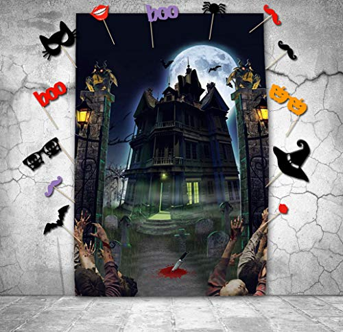 Halloween Backdrops with Photo Booth Props, 5X7ft Photography Background Halloween Horror Night Haunted House Studio Props Photo Backdrop Background - Walking Dead -