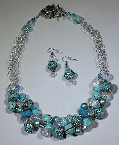 Seascape Crocheted Necklace and Earrings