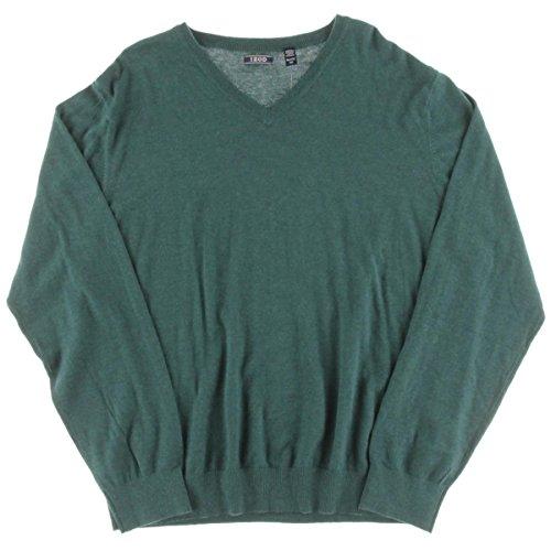 IZOD Men's Fine Gauge Solid V-neck Sweater, Deep Teal Hea...