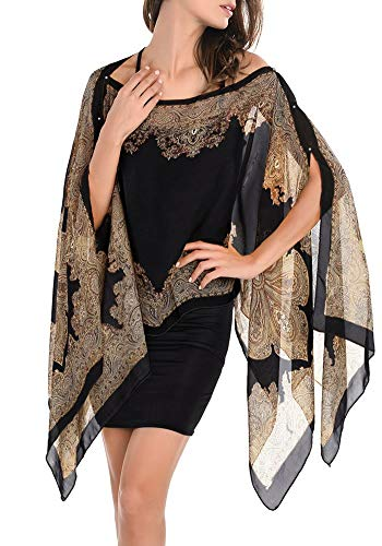 - Women Soft Chiffon Shawl,Swimsuit Scarf, Beachwear Wraps, Beach Cover Up,Boho Chiffon Kimono Scarve Cover (Black)