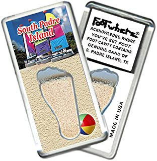 "product image for S. Padre Isle ""FootWhere"" Fridge Magnet (SP204 - Hobies). Authentic Destination Souvenir acknowledging Where You've Set Foot. Genuine Soil of Featured Location encased Inside Foot Cavity. Made in USA"