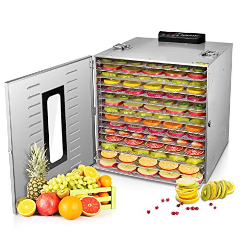 Commercial Stainless Steel Food Dehydrator -Raw Food & Jerky Fruit Dehydrator -1000W Preserve Food Nutrition Professional Household Vegetable Dryer, with 0~24 Hours Digital Timer (15 Trays)