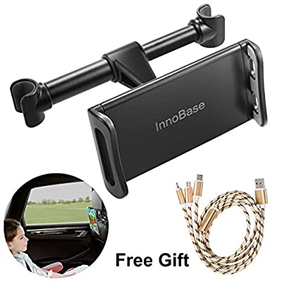 "Car Headrest Tablet Mount, Car Back Seat Tablet Holder Mount for iPad iPhones/Samsung Tabls/Nintendo Switch/Amazon Kindle Fire And More 4""-11"" Device, Free Gift:Charging Cable(Black)"
