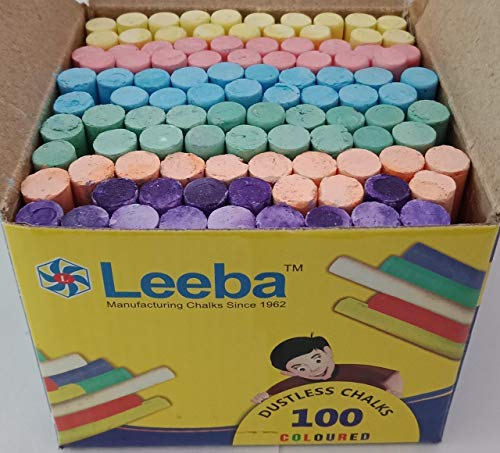 LEEBA Dustless Chalks Assorted Colours 100 pcs (Pack of 1)