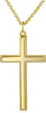 """14K Or Jaune Sur Argent Sterling 925 Croix Collier Pendentif//18/"""" Chaîne"""