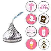 Girl First Holy Communion Label for HERSHEY'S KISSES® chocolates - Pink Candy Sticker - Set of 240