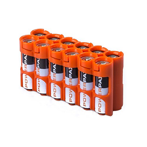 Storacell by Powerpax AA Battery Caddy, Orange, Holds 12 Batteries (Battery Carrying Case)