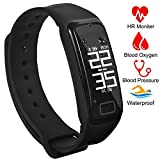 Fitness Tracker Activity Tracker Band with Oxygen Blood Pressure Heart Rate Sleep Monitor Pedometer Bluetooth Bracelet Waterproof Sports Smart Wristband with OLED Touch Screen for Android and iOS