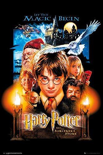 Harry Potter Póster and The Sorcerers Stone - HP 1 USA Version (61cm x 91,5cm) + 2 Marcos Negros para póster con suspención
