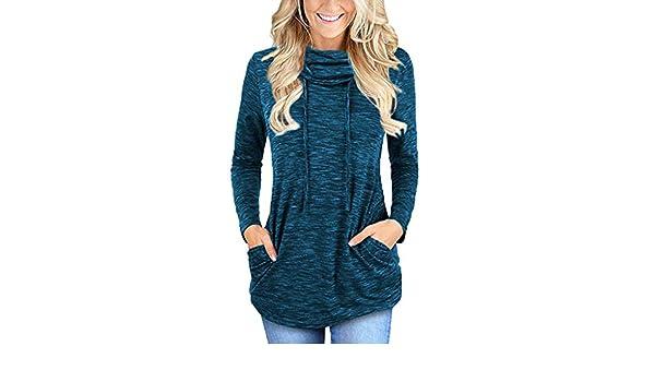 Sudadera Mujer♥ SUNNSEAN Suéter de Algodón Color Sólido con Bolsillos Cuello Alto Camuflaje Mangas Largas Camisas Blusas Tops Camisetas: Amazon.es: Ropa y ...