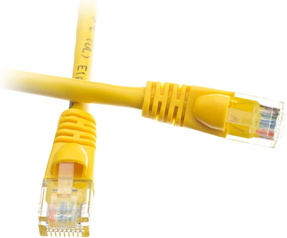 100 Foot Cat5e Snagless//Molded Boot Yellow Ethernet Patch Cable CNE53254 5-Pack