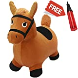Toys : Brown Hopping Horse, Activity Toy, Outdoors Ride On Bouncy Animal Play Toys, Inflatable Hopper Plush Covered with Pump, Activities Gift For 2, 3, 4, 5 Year Old Kids Toddlers Boys Girls - iPlay, iLearn