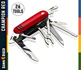 Swiss Style Army Multitool Pocket Knife - Heavy Duty Stainless Steel Multi Utility 26 Functions - Garage, Electrician, Mechanic,DIY - Cutter, Can Opener, Nail File, Magnifying Tool - Champion Red