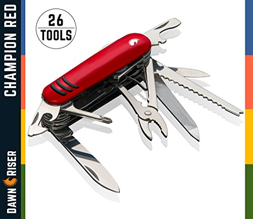 Swiss Style Army Multitool Pocket Knife - Heavy Duty Stainless Steel Multi Utility 26 Functions - Garage, Electrician, Mechanic,DIY - Cutter, Can Opener, Nail File, Magnifying Tool - Champion Red (Steel Micra Stainless)