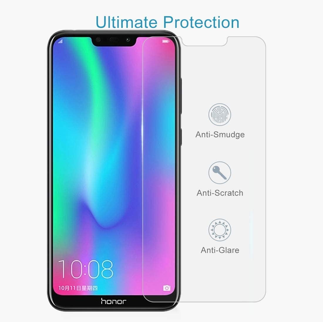 Super Clear and dura 100 PCS 0.26mm 9H 2.5D Explosion-Proof Tempered Glass Film for Huawei Honor 8C yf Easy to Install