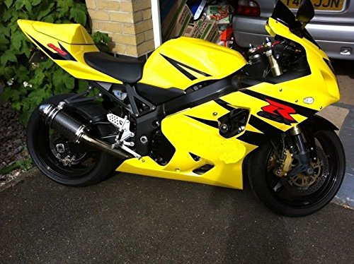 FocusAtOne Yellow Black Complete Fairing Bodywork Aftermarket Painted ABS Plastic Injection Molding Kit for 2004-2005 Suzuki GSXR GSX-R 600 - Abs Molding Plastic