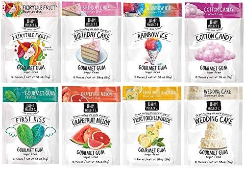 Project 7 Gourmet Gum Variety Pack - Birthday Cake, Wedding Cake, Rainbow Ice, First Kiss, Grapefruit Melon, Fairytale Fruit, Cotton Candy, Front Porch Lemonade.53 Ounce, Pack of 8