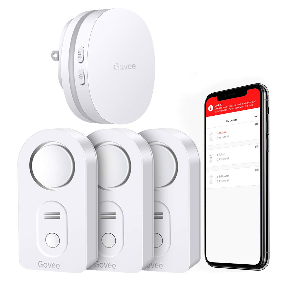 Govee WiFi Water Alarm, Smart APP Leak Alert, Wireless Water Sensor and Alarm with Email, Notification, App Alerts, Remote Monitor Leak for Home Security Basement(3 Packs)(Not Support 5G WiFi) by Govee