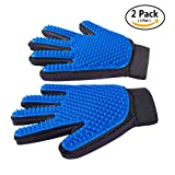 Pet Grooming Mitt Hair Remover Glove for Long & Short Hair Dogs, Cats, Bunnies, Horses, Right Hand Perfect for Deshedding Bathing Massage Brush Glove Comb 2 Pack