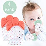 Cool  NEPAK Teething Mittens 2 Pairs-Baby Glove Stimulating Teether Toys for Boys & Girls-Teething Glove for 3-6 Months Baby (Coral and Mint Colours)