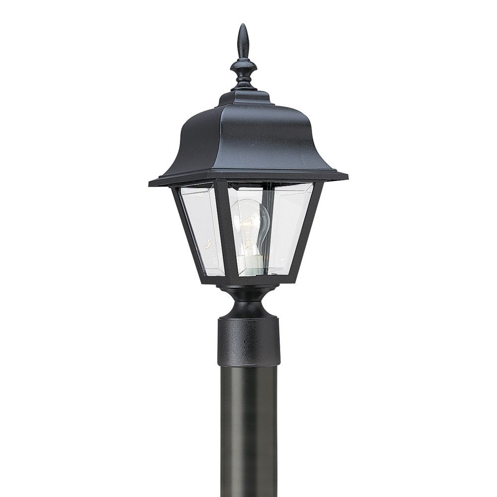 Sea Gull Lighting 8255-12 One-Light Outdoor Post Lantern with Clear Beveled Acrylic Panels, Black Finish