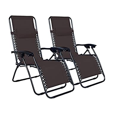Odaof Adjustable Infinity Zero Gravity Chair Recliner Patio Chairs Outdoor Lounge Chair Pool Folding Beach Chairs - 2 Pack, Brown