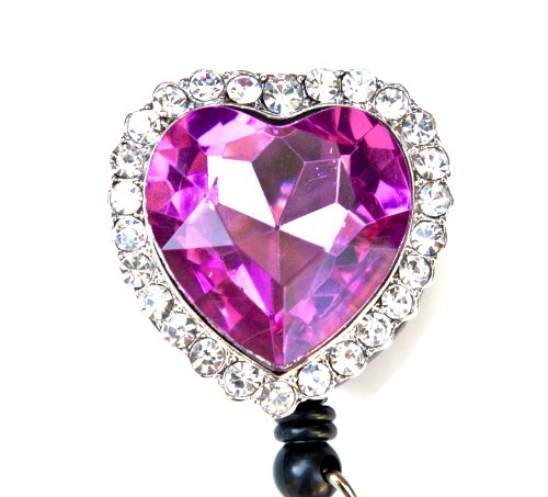 Colorful Diamond Heart Rhinestone Retractable Badge Reel / ID Badge Holder (Pink)