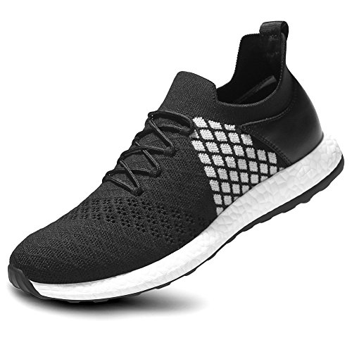 Zicac Men's Fashion Sports Shoes Leisure Flyknit Mesh Low Trail Running Shoes (CN40(250)-US7 D(M), 01-Black & White) For Sale