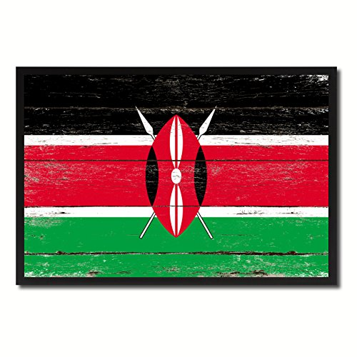Kenya Handcrafted (Kenya National Country Flag Shabby Chic Canvas Print Picture Frame Gift Ideas Home Decor Office Wall Art 7