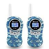 Qniglo Q168 Walkie Talkies Kids, 22 Channel FRS/GMRS Two-Way Radio 3 Miles Long Range Handheld Mini Walkie Talkies (Pack of 2, Camo Blue)