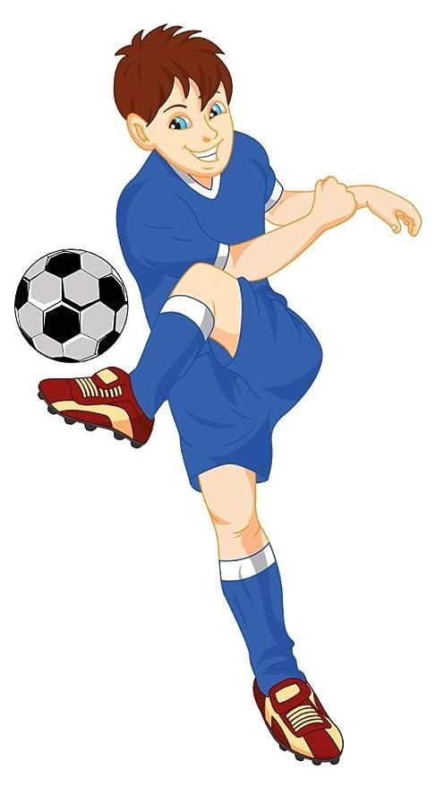 Pegatina de pared cuarto de los niños Futbolista de azul con balón ...