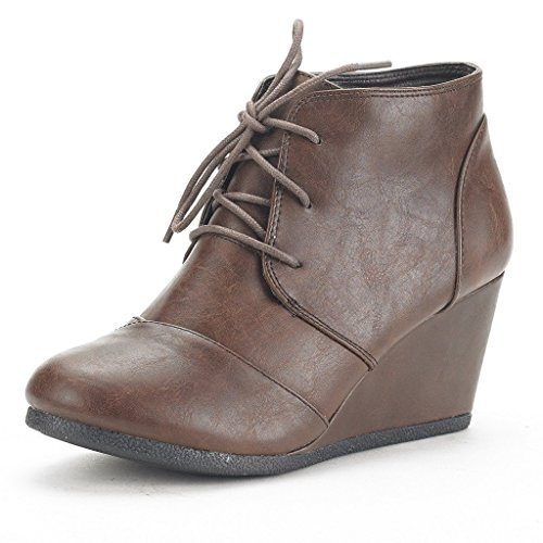DREAM PAIRS TOMSON Women's Casual Fashion Outdoor Lace Up Low Wedge Heel Booties Shoes   brown Pu 12 B(M) US