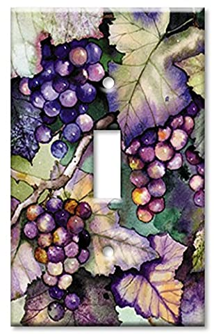 Art Plates - Single Gang Toggle OVERSIZE Switch Plate - Grapes and Leaves - Oversize Light Switchplates