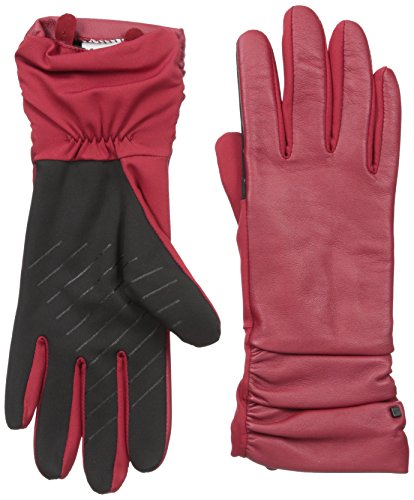 U|R Women's Ruched Cuff Leather and Stretch Touchscreen Glove, Red/Multi, Small/Medium