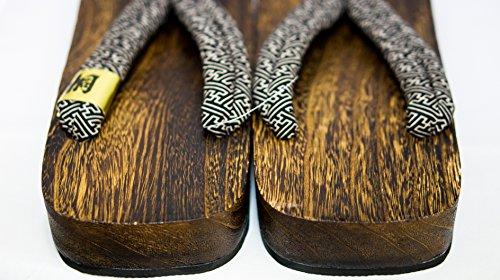 [Japon Made] Mens Geta Paulownia bois Sandals traditionnel Chaussures Noir de base de conception Taille L