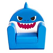 ALZIP Mat Children's 2 in 1 Flip Open Foam Sofa, Kids Sofa Support Seat Baby Safety Melody Sofa, All Ages, 23.6  x 21.6  x 16.5 , Blue (Daddy Shark)