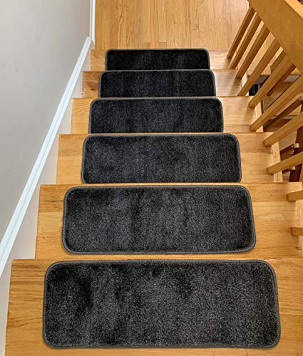 Antep Rugs Safe Steps Collection Non Slip Area Rug Stair Tread (13-Pack, Grey, 9